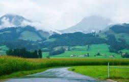 Droga przy Prealps górami w Gruyere w Fribourg Szwajcaria Fotografia Stock