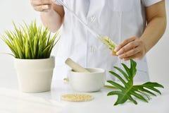 Droga que formula de las plantas naturales orgánicas, sustancia de mezcla del doctor nueva de la esencia del extracto del farmacé imágenes de archivo libres de regalías