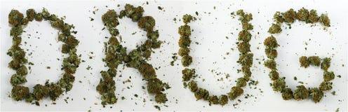 Droga soletrada com marijuana Foto de Stock