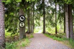 Droga w lesie z żadny jeździeckim znakiem i żadny pojazdy podpisuje Zdjęcia Stock