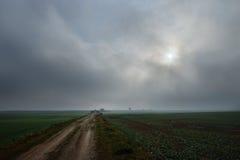 Droga w polu w chmurzącym dniu, Latvia Zdjęcia Stock