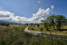 Droga w Rila górze Govedartsy wioska, Bułgaria zdjęcie stock