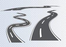 Droga z biel lampasami na szkockiej kraty tle Set wyginać się trasy Zdjęcia Stock
