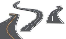 Droga z biel lampasami na szkockiej kraty tle Set wyginać się trasy Obraz Stock