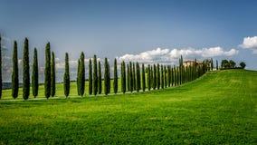 Droga z cyprysami agritourism w Tuscany Zdjęcia Stock
