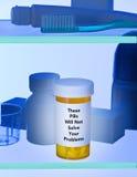 Drogadicción de la botella de píldoras Fotografía de archivo libre de regalías