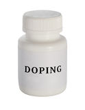 drogare Fiala di plastica della medicina su un fondo bianco fotografie stock