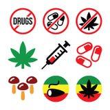 Drogas, apego, marijuana, ícones coloridos da seringa ajustados Fotos de Stock