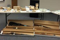 Drogas, armas y pruebas Foto de archivo libre de regalías