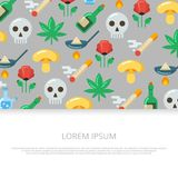 Drogas brilhantes e ícones lisos do crânio Foto de Stock