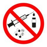 Drogas e ícone do sinal da proibição dos comprimidos Nenhuma etiqueta da seringa Injeção proibida ilustração do vetor