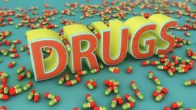 drogas e cápsulas do texto 3d Fotografia de Stock