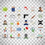 Drogas e iconos planos del apego ilustración del vector