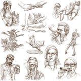 Drogas - ejemplos dibujados mano del mismo tamaño Imágenes de archivo libres de regalías