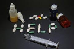 Drogas - palabra de la ayuda Foto de archivo libre de regalías