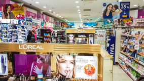 Drogas shop in Panorama mall. Panorama shopping mall interior of Drogas shop in Vilnius, Lithuania Royalty Free Stock Photography