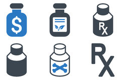 Drogas Vial Flat Glyph Icons Fotos de Stock