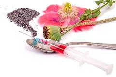drogdroger skördar tidigare heroinfruktsaft ingen vallmoetappinjektionsspruta till använd white Royaltyfri Foto