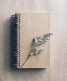 Droge bloem met leeg notitieboekje op kleurenachtergrond Stock Foto