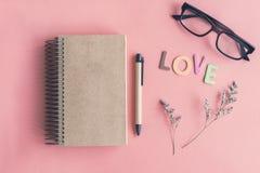 Droge bloem met leeg notitieboekje op kleurenachtergrond Stock Afbeelding
