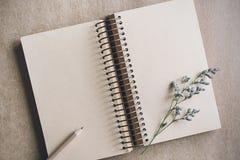 Droge bloem met leeg notitieboekje op kleurenachtergrond Royalty-vrije Stock Fotografie