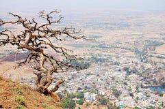 Droge boom op een mening van de heuveltop van het dorp stock foto's