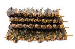 Droge clariasvissen in bamboevleespen Stock Afbeeldingen