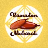 Droge Datumfruit Ramadan Mubarak Islamic Stock Afbeelding