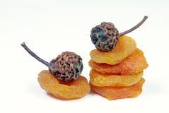 Droge die abrikozen en peren op wit worden geïsoleerd Gedroogd fruit stock afbeelding