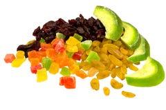 Droge die Amerikaanse veenbes, Pamela, rozijnen, gekonfijte vruchten op whi worden geïsoleerd Stock Foto