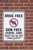 Droge frei und Gewehr-Freizone Lizenzfreie Stockfotos