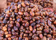 Droge fruitdatum op de markt in Marokko Stock Afbeeldingen
