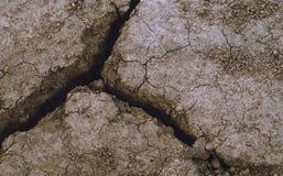 Droge grond met barsten, woestijn Royalty-vrije Stock Afbeeldingen