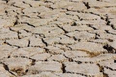 Droge grond op Zayandeh-rivier in Iran tijdens de de zomer van 2016 droogte Royalty-vrije Stock Afbeelding