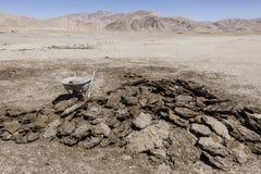 Droge koemest in Bulunkul in Tadzjikistan Met de koemest, wordt de oven omhoog in brand gestoken royalty-vrije stock afbeelding