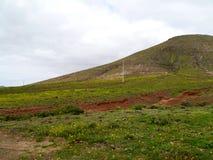 Droge kreken en rivierbedden dichtbij La Oliva op Fuerteventura royalty-vrije stock foto