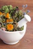 Droge kruiden en bloemen in wit mortier, herbalism, decoratie stock afbeeldingen