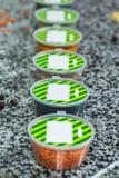 Droge kruiden in plastic containers op een marmeren achtergrond Stock Foto