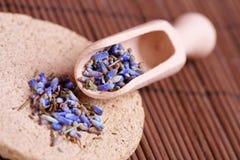 Droge lavendelbloemblaadjes op de houten lepel stock fotografie