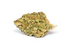 Droge marihuanaknop op witte achtergrond Royalty-vrije Stock Foto's