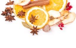 Droge oranje en andere vruchten op een witte achtergrond Royalty-vrije Stock Afbeeldingen
