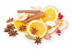 Droge oranje en andere vruchten op een witte achtergrond Stock Afbeelding