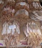 Droge pijlinktvismarkt Stock Foto's