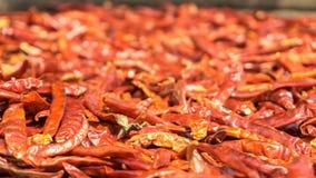 Droge rode chillis worden bewaard door zonlicht Stock Foto's