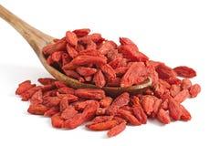 Droge rode gojibessen voor een gezonde voeding Stock Foto's