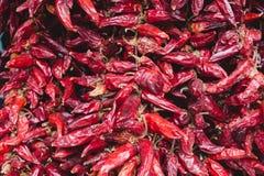 Droge rode Spaanse peperpaprika op een koordachtergrond Royalty-vrije Stock Fotografie