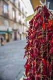 Droge rode Spaanse peperpeper die voor verkoop bij de straatmarkt hangen, Tropea, Italië Stock Foto's