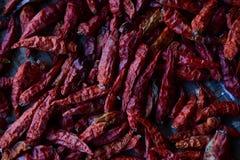 Droge rode Spaanse pepers die op een houten rek drogen Stock Afbeeldingen