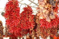 Droge rode Spaanse pepers die op een marktplaats hangen Royalty-vrije Stock Foto