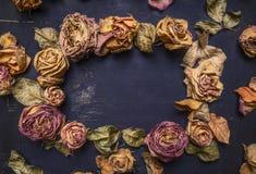 Droge rozen met bloemblaadjes, gevoerd kader met dicht omhoog ruimte voor tekst houten hoogste mening rustieke als achtergrond Royalty-vrije Stock Foto